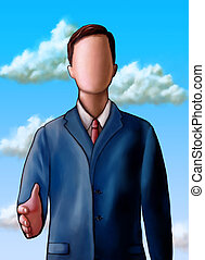 Unknown business - Faceless businessman offering to shake...