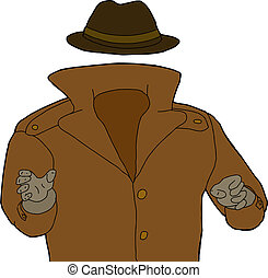 Unknown Man - Cartoon of trench coat and hat around...
