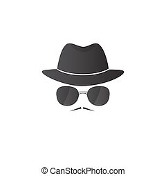 Unknown man in hat and glasses with a mustache. Detective...