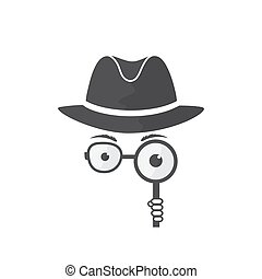 Unknown man in hat, glasses and a magnifying glass in hand....