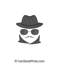Unknown man with a mustache in hat and glasses. Mafioso....