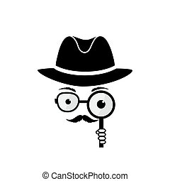 Unknown man with a mustache in hat, spectacles and a...