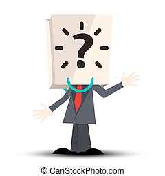 Unknown Man with Paper Bag with Question Mark on Head