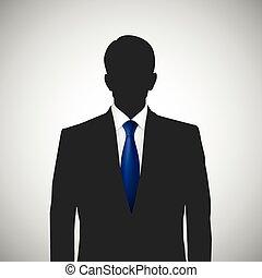 Unknown person silhouette whith blue tie. Profile picture, ...