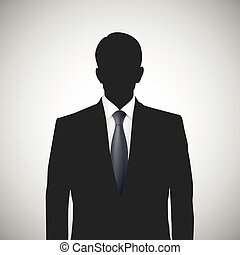 Unknown person silhouette whith tie. Profile picture,...