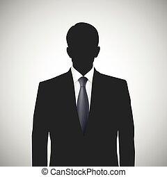 Unknown person silhouette whith tie. Profile picture,...