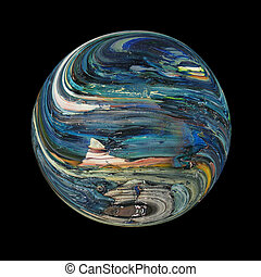 Imaginary blue planet on black background. Nobody knows if it really exist.