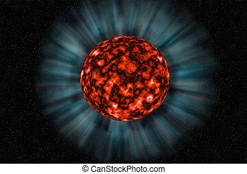 Unknown planet on a dark background