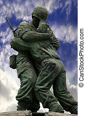 Unknown Soldier statue at war memorial in Korea with beautiful sky background