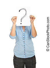 Woman covering her face with an question mark isolated on white background