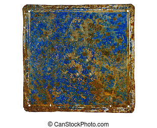 unlabeled rusty house number plate