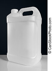 Unlabeled white plastic tank canister chemical liquid container