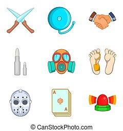 Unlawful act icons set, cartoon style - Unlawful act icons...