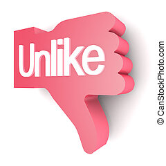 """Unlike - """"Unlike"""" buttons 3d render on white background"""