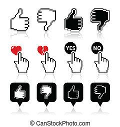 unlike, ikonok, szeret, -, kéz, kurzor