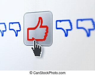 unlike, medios, como, digital, computadora, social, pantalla, concept: