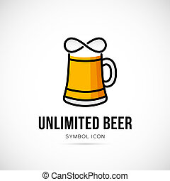 Unlimited Beer Vector Concept Symbol Icon or Logo Template