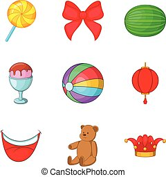 Unlimited fun icons set, cartoon style
