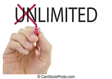 unlimited-, limité, concept, contraires