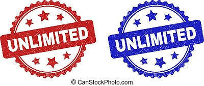 Rosette UNLIMITED watermarks. Flat vector scratched watermarks with UNLIMITED phrase inside rosette with stars, in blue and red color variants. Watermarks with unclean style.