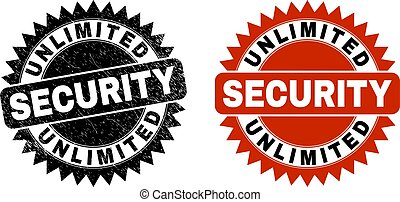 Black rosette UNLIMITED SECURITY seal stamp. Flat vector distress seal stamp with UNLIMITED SECURITY text inside sharp rosette, and original clean template. Imprint with unclean texture.