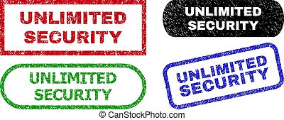 UNLIMITED SECURITY grunge watermarks. Flat vector scratched watermarks with UNLIMITED SECURITY slogan inside different rectangle and rounded forms, in blue, red, green, black color variants.
