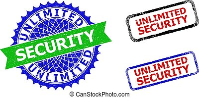Bicolor UNLIMITED SECURITY seal stamps. Blue and green UNLIMITED SECURITY seal stamp with sharp rosette and ribbon design elements.