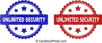 Rosette UNLIMITED SECURITY seal stamps. Flat vector grunge seal stamps with UNLIMITED SECURITY phrase inside rosette with stars, in blue and red color versions. Rubber imitations with distress style.
