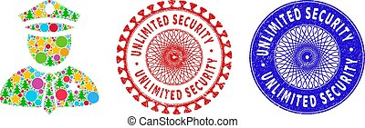 Police guy mosaic of New Year symbols, such as stars, fir-trees, color round items, and UNLIMITED SECURITY grunge stamp seals. Vector UNLIMITED SECURITY stamps uses guilloche pattern,
