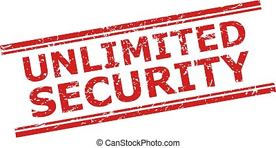 Red UNLIMITED SECURITY seal stamp on a white background. Flat vector scratched seal stamp with UNLIMITED SECURITY title inside double parallel lines. Watermark with scratched texture.