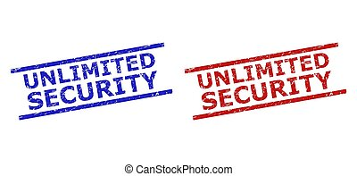 Blue and red UNLIMITED SECURITY seals on a white background. Flat vector grunge seals with UNLIMITED SECURITY message between two parallel lines. Watermarks with grunge style.