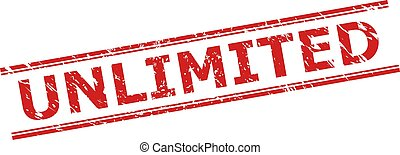 Red UNLIMITED watermark on a white background. Flat vector grunge watermark with UNLIMITED caption inside double parallel lines. Watermark with unclean surface.