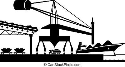 Unload raw materials from cargo ship - vector illustration