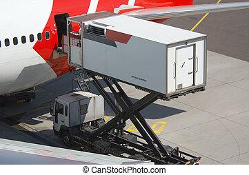 unloading a plane - aircraft unloading cargo