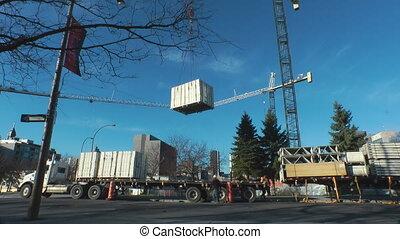 Unloading A Truck - Construction Gantry Crane Unloading An...
