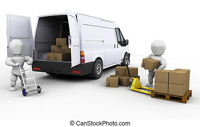 3D render of people unloading boxes from a van