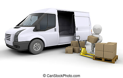 Unloading a van - 3D render of someone unloading a van