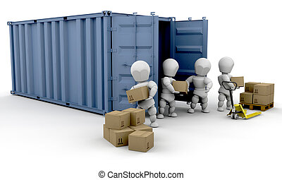 3D render of people unloading boxes from a freight container