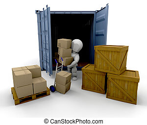 Unloading boxes - 3D render of someone unloading boxes from...