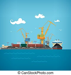 Unloading Coal from the Dry Cargo Ship