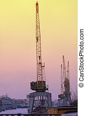 Unloading cranes at the docks