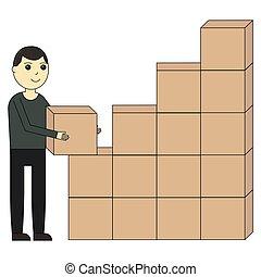 Unloading of goods. Cartoon character