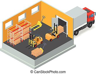 Unloading of goods in a warehouse using forklift.