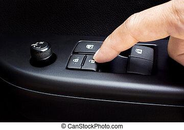 unlock., 手指, 壓, 門, 汽車, 按鈕, 鎖