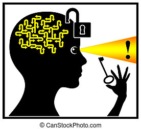 Unlock and activate your brain - Concept sign of a woman who...