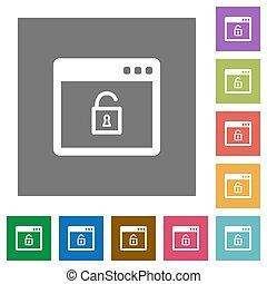 Unlock application square flat icons