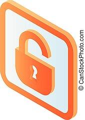 Unlock blue padlock icon, isometric style