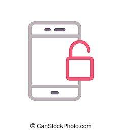 unlock color line icon