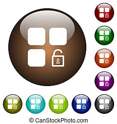 Unlock component white icons on round color glass buttons