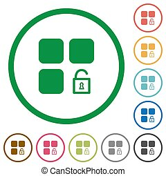 Unlock component flat color icons in round outlines on white background